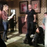 Taking final instructions from director before Leven (playing Riley Dawson) beats me up.